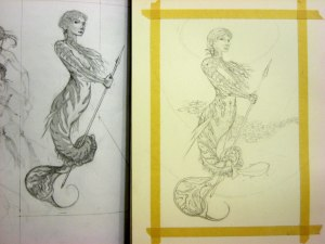 The original sketch is on the left. I redrew her on 140# Arches hot-press paper.